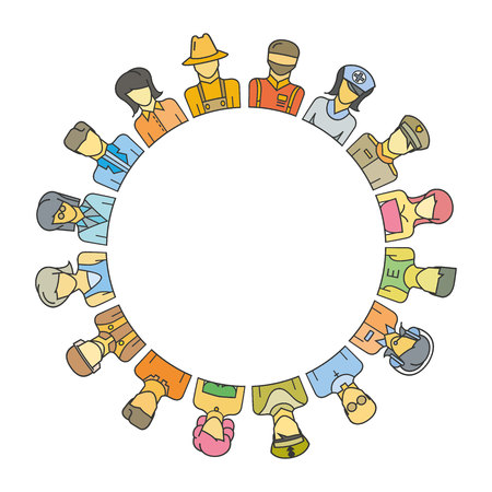 on top of the world: Group of people around circle and blank in center for text or your topic Illustration