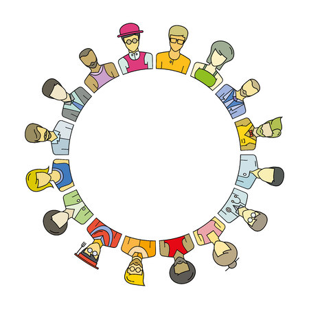 Group of people around circle and blank in center for text or your topic Illustration
