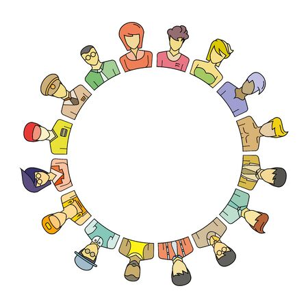 woman looking up: Group of people around circle and blank in center for text or your topic Illustration