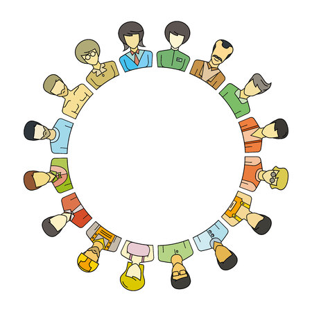 Group of people around circle and blank in center for text or your topic