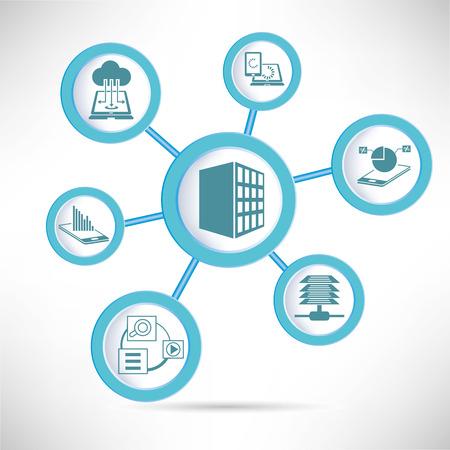 network server: Server, data analytics and network concept diagram, infographic
