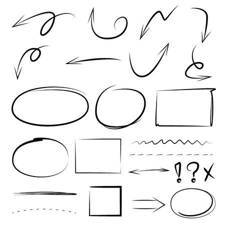 flechas direccion: Una mano dibujada flechas, círculos, rectángulo para el texto de marcado