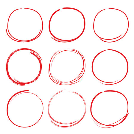 Red scribble circle highlighters