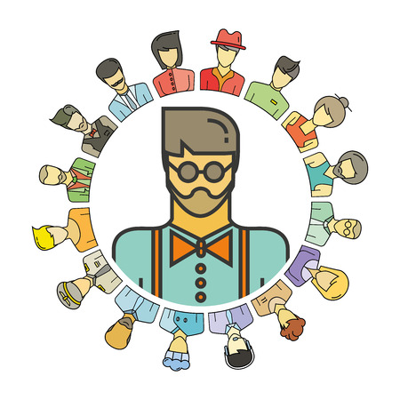Hipster, people group in circle shape for social community concept Illustration