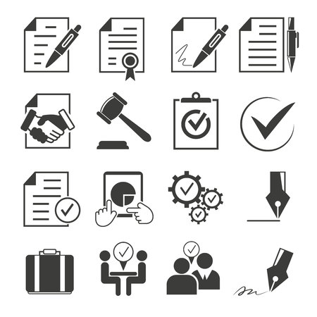 business contract: business contract icons illustration