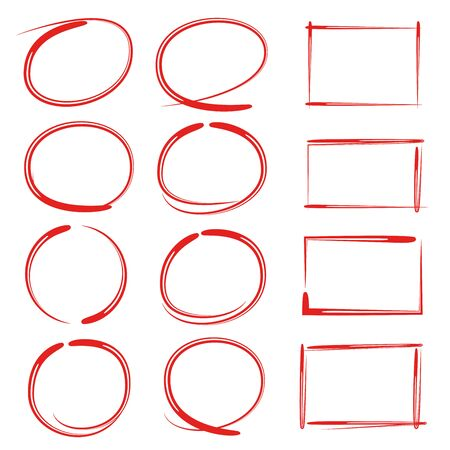 red hand drawn oval and rectangle frames