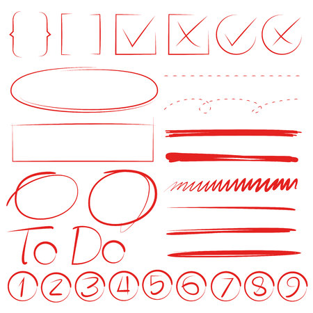 red hand drawn marker elements, underline and number