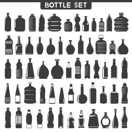 oilcan: bottle containers black silhouettes set