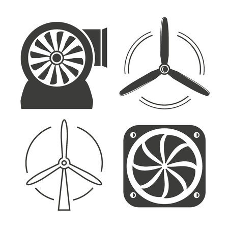 wind turbine, fan icons