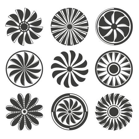 warning fans: Jet engine, fans and propellers icons set Illustration