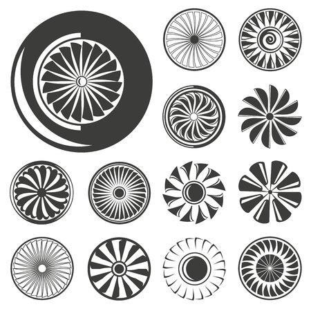 jet blades, jet engine icons