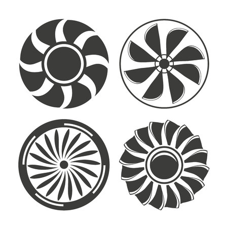 warning fans: jet engine, fans and propellers icons