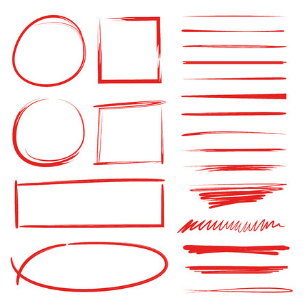 red hand drawn underlines, check marks, circle and rectangle marker Illustration