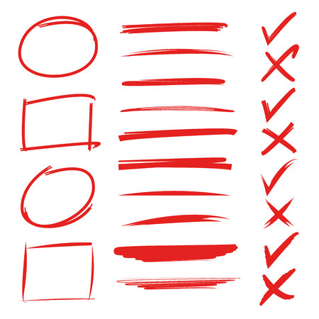 red hand drawn underlines, check marks, circle and rectangle marker Reklamní fotografie - 76477973