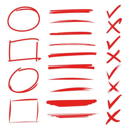 rode hand getekende onderstrepingen, vinkjes, cirkel en rechthoek marker