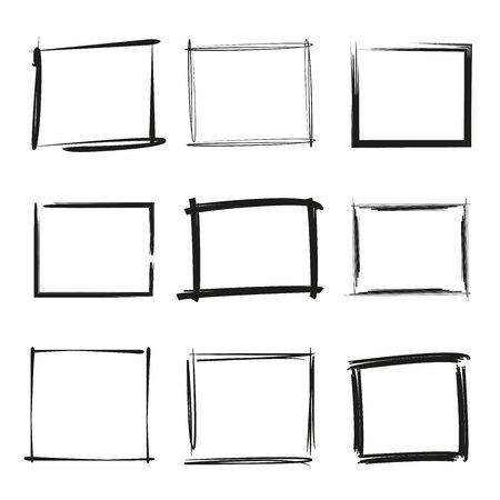 scratches: Black grunge frame set Illustration