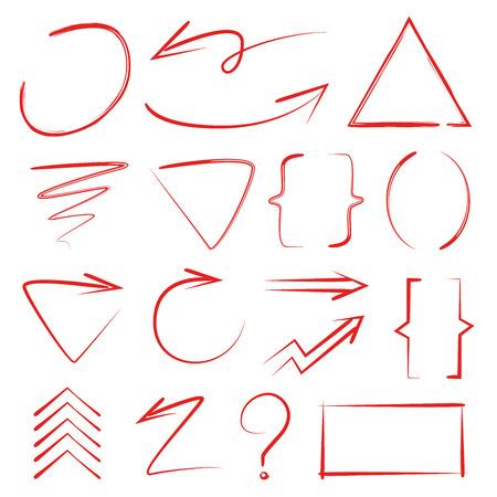 Rode hand getrokken marker elementen, pijlen, haakjes
