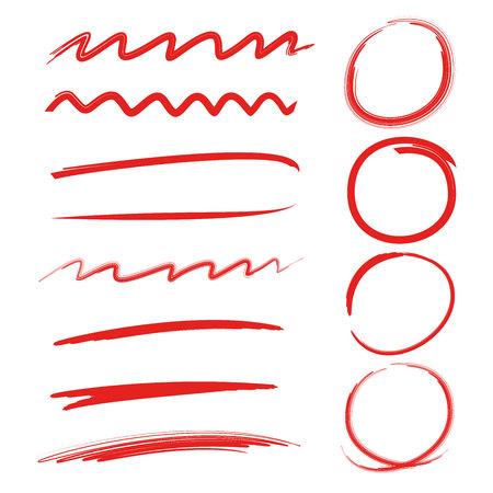 red circle highlighter, underline, brush lines