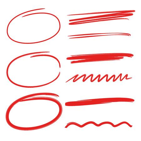 cirkel markeerstift, onderstrepen, penseel lijnen, markers Stock Illustratie