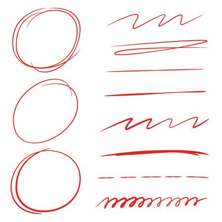 원형 형광펜, 밑줄, 브러쉬 선, 마커 일러스트