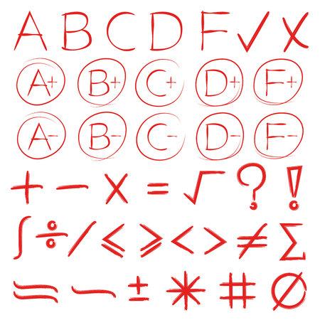 grade result and math symbols
