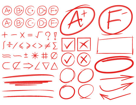 school grades and examination result marks, math sign, circle and underline markers