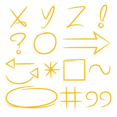 hand drawn math signs, marker elements