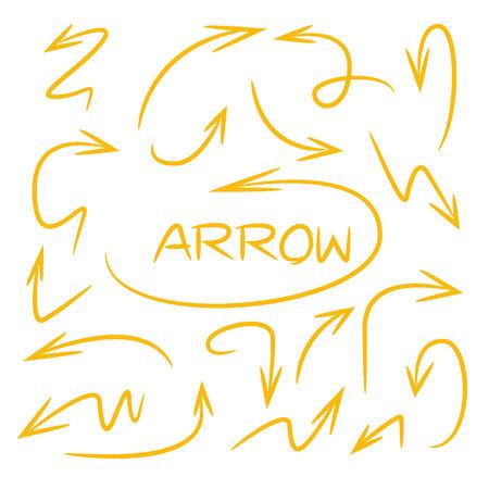 Yellow hand drawn arrows