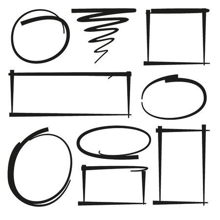 hand drawn marker elements, frames