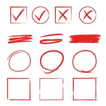 red hand drawn check marks and circle, rectangle highlighter