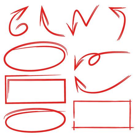 red hand drawn arrows, oval and rectangle frames Ilustração