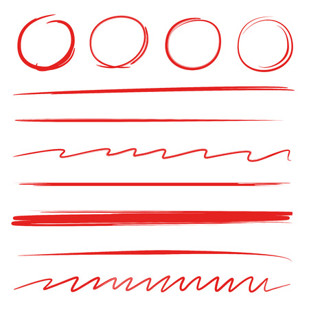 Red hand drawn circle markers and underlines. 向量圖像