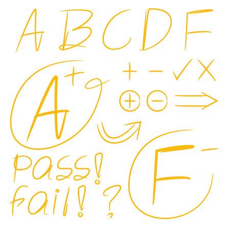 Yellow grade result marks