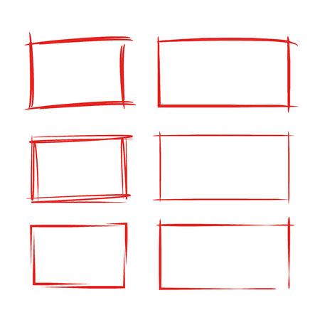 Red grunge rectangle frames vector illustration.