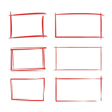 Red grunge rectangle frames vector illustration.