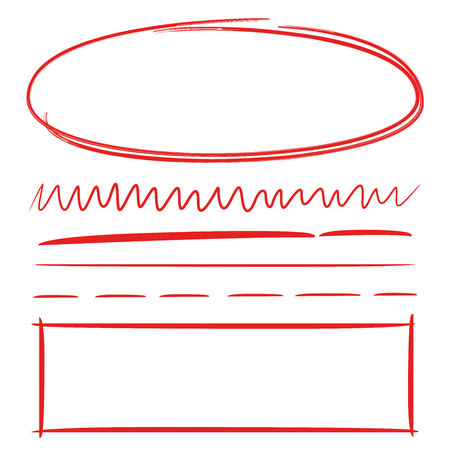 Red hand drawn oval and rectangle frame, underlines 向量圖像