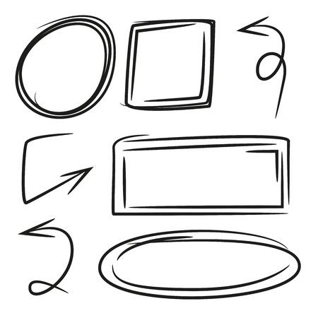 Black hand drawn arrows and blank frames