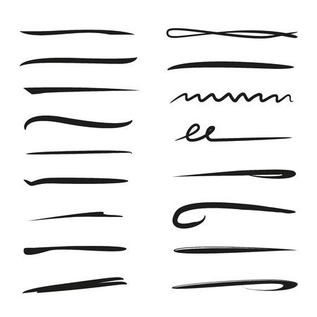 Onderstreep en randborstelslag. Vector illustratie.