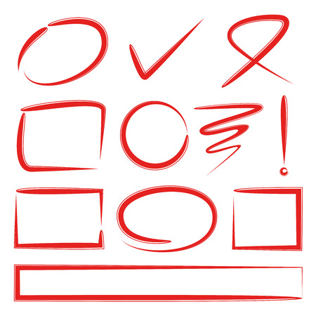 Red hand drawn marker elements