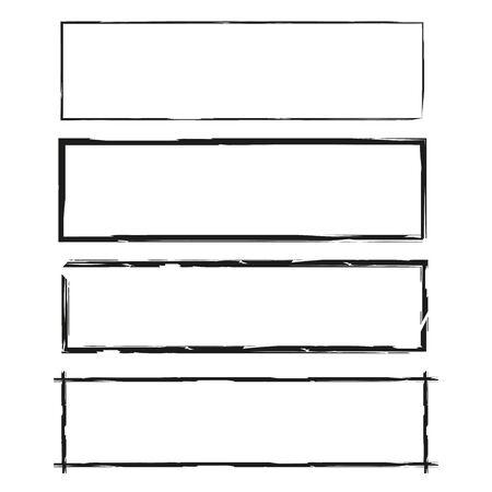 Blank grunge frame set vector illustration.