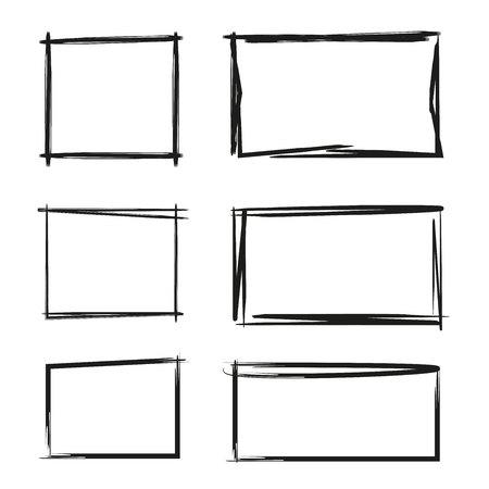 Hand getekende rechthoek, tekstvak en frames Stock Illustratie