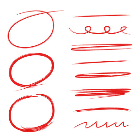 vector red circle markers and underline set