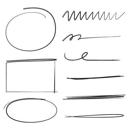 pen and marker: collection of underlines, brush lines