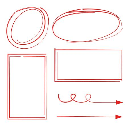 Red hand drawn markers, circles and rectangle frames