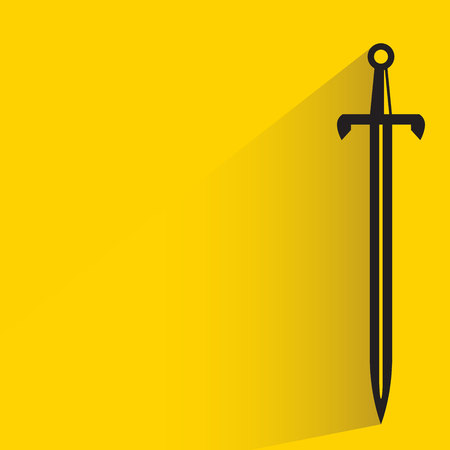 sword and shadow on yellow background