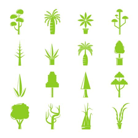 green tree and plant icons Illustration