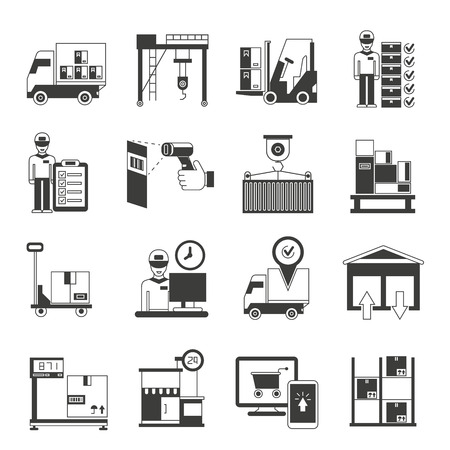 shopping carriage: warehouse and cargo management icons