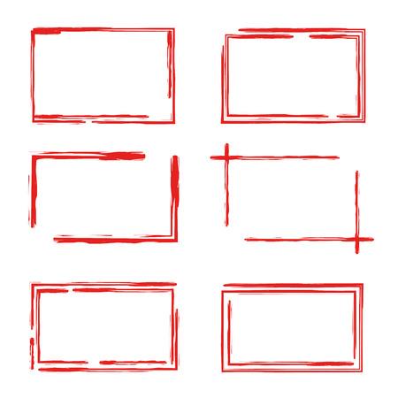 Set of red grunge rectangle frames
