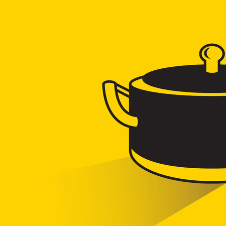 cooking pot on yellow background Illustration