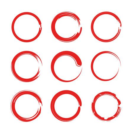 red grunge circles, zen circles